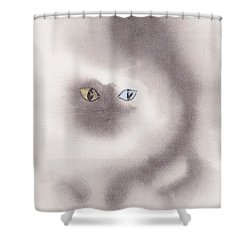 Shower Curtain featuring the painting Mysty Cat by Marc Philippe Joly
