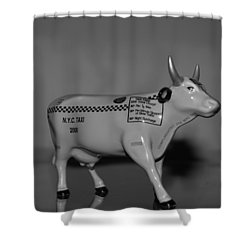 N Y C Taxi Cow Shower Curtain by Rob Hans
