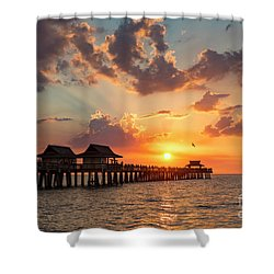 Shower Curtain featuring the photograph Naples Pier At Sunset by Brian Jannsen