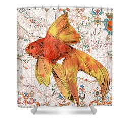 Shower Curtain featuring the painting Nautical Treasures-g by Jean Plout