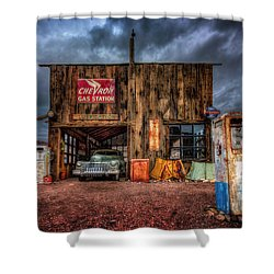 Nelson Nevada, Weathered Garage, Car, And Gas Pump Shower Curtain