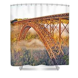 New River Gorge Bridge Morning Fall Panorama Shower Curtain