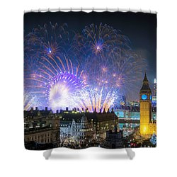 New Year Fireworks Shower Curtain