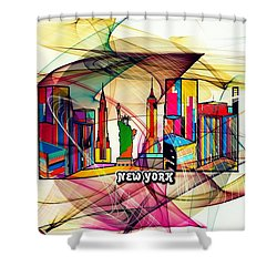 New York By Nico Bielow Shower Curtain by Nico Bielow