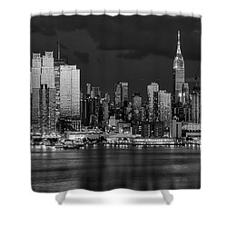 Shower Curtain featuring the photograph New York City Skyline Pride Bw by Susan Candelario