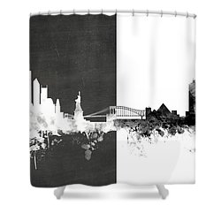 New York Memphis Skyline Mashup Shower Curtain