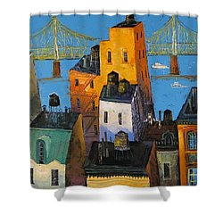Shower Curtain featuring the painting New York by Mikhail Zarovny