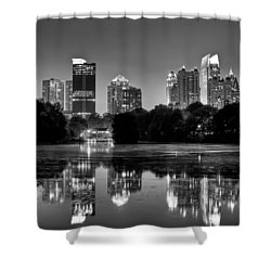 Night Atlanta.piedmont Park Lake. Shower Curtain