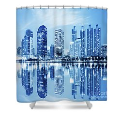 Night Scenes Of City Shower Curtain by Setsiri Silapasuwanchai