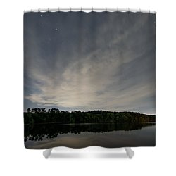 Night Sky Over The Lake Shower Curtain