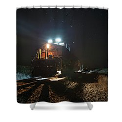 Shower Curtain featuring the photograph Night Train by Aaron J Groen