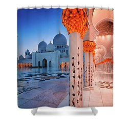 Night View At Sheikh Zayed Grand Mosque, Abu Dhabi, United Arab Emirates Shower Curtain