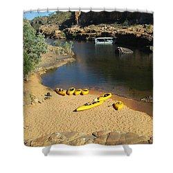 Nitmiluk Gorge Kayaks Shower Curtain by Tony Mathews