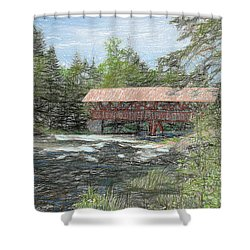 North Country Bridge Shower Curtain by John Selmer Sr