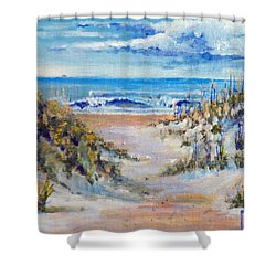 North Topsail Beach Shower Curtain by Jim Phillips
