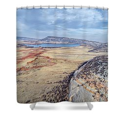 northern Colorado foothills aerial view Shower Curtain