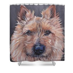 Shower Curtain featuring the painting Norwich Terrier by Lee Ann Shepard