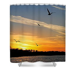 November Sunset Shower Curtain by Frozen in Time Fine Art Photography