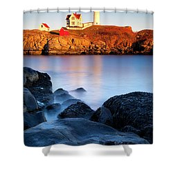 Nubble Lighthouse Shower Curtain by Brian Jannsen