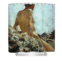 Shower Curtain featuring the painting Nude Study by Henry Scott Tuke