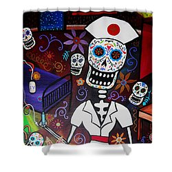 Nurse Dia De Los Muertos  Shower Curtain