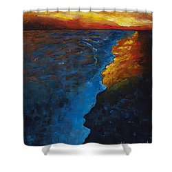 Ocean Sunset Shower Curtain by Frances Marino