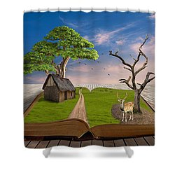 Shower Curtain featuring the mixed media Oh Deer by Marvin Blaine