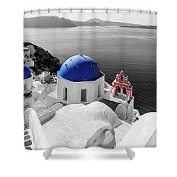 Oia, Santorini - Greece. Shower Curtain