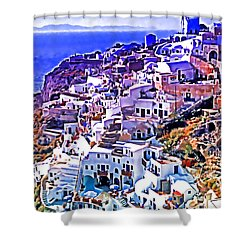 Oia Town On Santorini Shower Curtain by Dennis Cox WorldViews