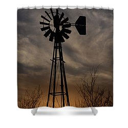 Oklahoma Windmill And Sunset Shower Curtain