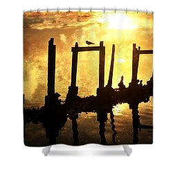 Shower Curtain featuring the photograph Old Pier At Sunset by Marty Koch