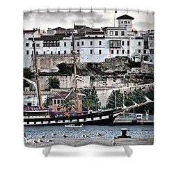 Old Port Mahon And Italian Sail Training Vessel Palinuro Hdr Shower Curtain