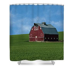Old Red Barn In The Palouse Shower Curtain by James Hammond