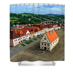 Old Town Square In Bardejov, Slovakia Shower Curtain