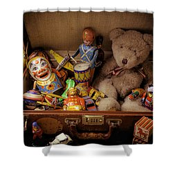 Old Toys In Suitcase Shower Curtain by Garry Gay
