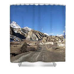 On The Annapurna Circuit Trekking Near Manang In Nepal Shower Curtain
