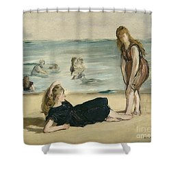 On The Beach Shower Curtain by Edouard Manet