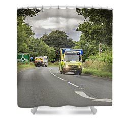 Shower Curtain featuring the photograph On The Way To Help by RKAB Works