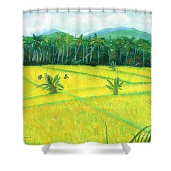 Shower Curtain featuring the painting On The Way To Ubud II Bali Indonesia by Melly Terpening