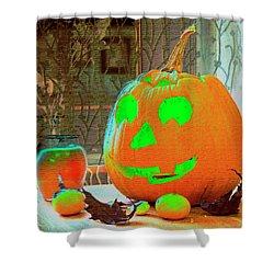 Orange Halloween Decoration Shower Curtain