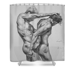 Original Drawing Sketch Charcoal Male Nude Gay Interest Man Art Pencil On Paper -0035 Shower Curtain by Hongtao     Huang