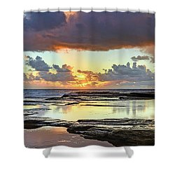 Overcast And Cloudy Sunrise Seascape Shower Curtain