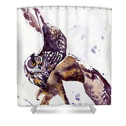 Owl Watercolor Shower Curtain