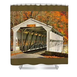 Pa Country Roads - Knox Covered Bridge Over Valley Creek No. 2a - Valley Forge Park Chester County Shower Curtain by Michael Mazaika