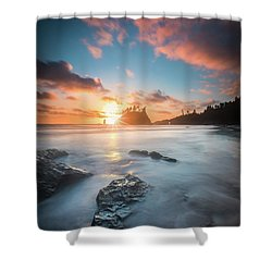 Shower Curtain featuring the photograph Pacific Sunset At Olympic National Park by William Lee