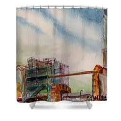 Shower Curtain featuring the painting Paia Mill 2 by Eric Samuelson