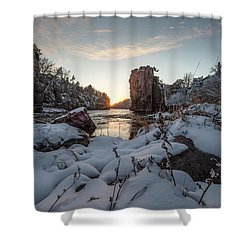 Shower Curtain featuring the photograph  Palisades First Snow by Aaron J Groen