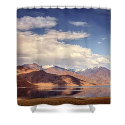 Shower Curtain featuring the photograph Pangong Tso Lake by Alexey Stiop