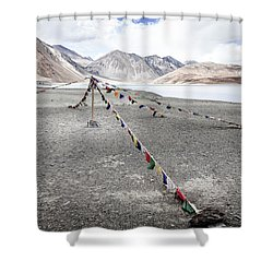 Shower Curtain featuring the photograph Pangong Tso Lkae by Alexey Stiop