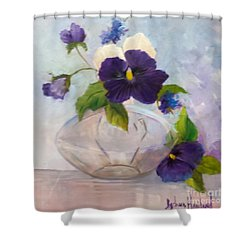 Pansies In Glass Shower Curtain